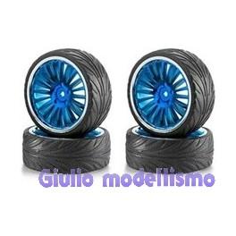 Carson ruote complete con cerchi XL blu e chromo 900085