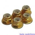 CPV Dado 4mm autobloccante flangiato alu oro 5pz cod. 57124A