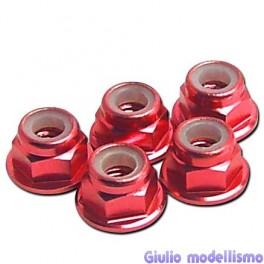 CPV Dado 4mm autobloccante flangiato alu rosso 5pz cod. 57124R